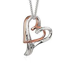 ROSE GOLD STERLING SILVER 925 FLOATING DOUBLE HEART HAWAIIAN SCROLL PENDANT