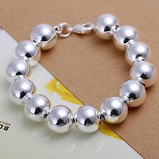 "Wholesale 925Sterling Silver Large Same Wide Buddha Beads Bracelet 14MM 8"" H080"