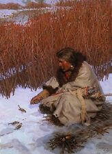 Tom Lovell THE HUNTER, Native American, Sioux, Sparrows, AP print EXTREMELY RARE