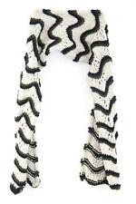 Damen creme/grün/schwarz Wave Line Design Winte Schal Unikat (MS4)