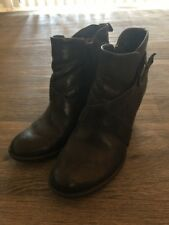 Born Shola W31647 Ankle Boots Black Leather Zips Buckles US 7.5 EU 38.5 HighHeel