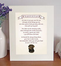 "Labrador (Chocolate) 10""x8"" Free Standing 'Thank You' Poem Fun Gift FROM THE DOG"