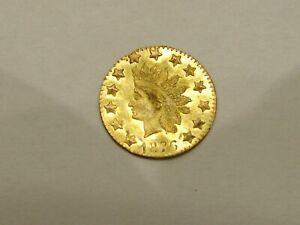 1876 California Gold 1/2 Dollar Round Indian (mild bend)