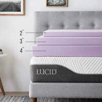 LUCID 2, 3, 4 Inch Lavender Scent Memory Foam Mattress Topper - Twin Full Queen