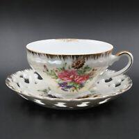 Vintage MARCO Iridescent Rose Floral Tea Cup & Saucer - Gold Trim