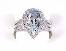 Fine Pear Cut Aquamarine Ring w/Diamond Halo & Accents 14k White Gold 4.17Ct