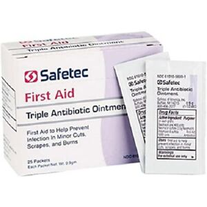 BOX of 25 Triple ANTIBIOTIC  Ointment ( Generic Neosporin ) PACKETS 0.9gm
