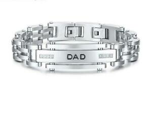 Quality DAD Father Stainless STEEL Bracelet CZ Crystal Silver Cuff Link Gift