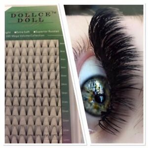 Dollce Doll Premade Russian Volume Lash Fans 10D SHORT STEM Eyelash Extension