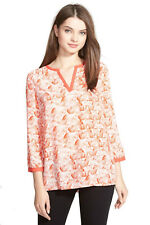 NYDJ - NWT $88 - Womens XS - Coral Orange Abstract Split Neck Blouse Top