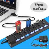 7 Port USB Hub + AC Power Adapter ON/OFF Switch High Speed For PC Laptop MAC *