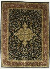 Black & Rust Traditional Hand Knotted 5X6 Indo Tabriiz Wool Oriental Area Rug
