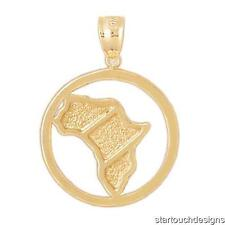 New 14k Yellow Gold Africa Map Pendant