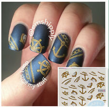 1Sheet Nail Art Water Decals Transfers Sticker Compass Chain Anchor Pattern