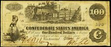 T-39 $100 Confederate Paper Money 1862 Csa note Currency Dollar