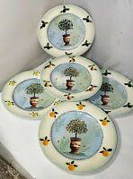 TOPIARY PLATES LOT OF 5 NAPA VALLEY HOME COLLECTION PLATE FRUIT TREE TOPIARY SET