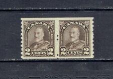 CANADA  1930 KING GEORGE V ARCH/LEAF COIL PAIR - SCOTT 182 - MH