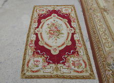 3'X5' Victorian Aubusson Design Needlepoint Floral Area Rug Hand Woven Beige Red