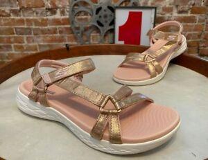 Skechers Rose Gold GOwalk On-the-Go 600 Multi Strap Sandals Sheen New