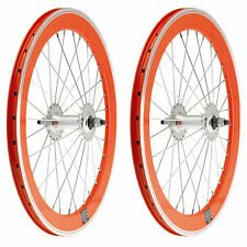 """2x  Llanta Rueda Aluminio Bicicleta BMX GRAZIELLA 20"""" Fixed Color NARANJA 3749"""