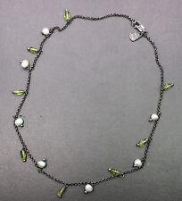 "Silpada Sterling Silver Green Peridot & Freshwater Pearl Necklace 16"""
