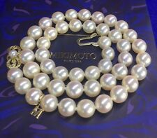 "Gorgeous Mikimoto 18K YGold-New Clasp Large Akoya ~8.5 Pearls 17.5"" Necklace+Box"
