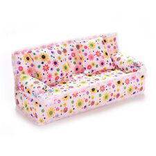 3x/set Mini Dollhouse Furniture Flower Printing Cloth Sofa Couch & 2Cushion Toys