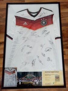 Deutschland Trikot WM 2014 + Rahmen Teamsigniert Autogramm Fußball DFB Adidas XL