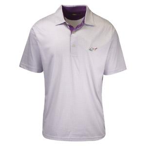 Greg Norman Men's White Purple Circle Design S/S Polo Shirt