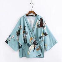 Lady Japanese Kimono Coat Floral Loose Yukata Outwear Tops Jacket Casual Retro