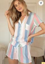 Splendid Shortie PJ Set Blue Island Stripe Pastel  Top Shorts M NWOT $68