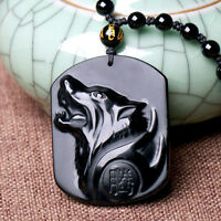Black Obsidian Carving Wolf Head Pendant Necklace Blessing Luck Amulet Jewelry s