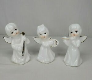 Vintage Porcelain Angels Playing Instruments White Gold Accents Set Of 3