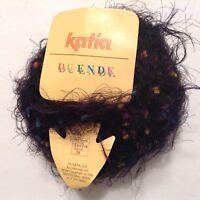1 SKEIN of KATIA DUENDE YARN 82% ACRYLIC 18% NYLON BLACK/MULTI COLOR-105YDS