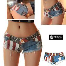Mini Pantaloncini Jeans Donna Bandiera Americana Coachella Mini Shorts JEA020