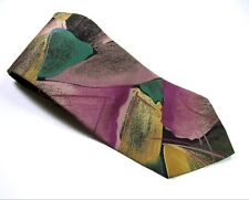BUGLE BOY MEN Neck Tie PINK GREEN YELLOW Abstract Art Shapes Necktie Made in USA