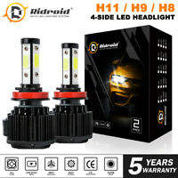 Pair 4-Side H11 H8 H9 LED Headlight Kits High Power Bulbs 6000K 120W 32000LM