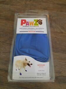 Pawz Rubber Dog Boots Blue Size Medium 100% Waterproof 12 Pack