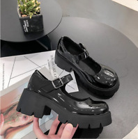 Womens Gothic Punk Heels Platform Chunky Round Toe Buckle Mary Jane Shoes Lolita
