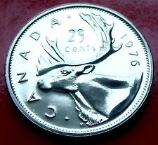 PL 1976  PROOF ISSUE CANADA 25 cents. Strong Caribou Cameo with Holder