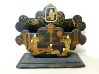 ANTIQUE CHINESE HANDPAINTED GUILDED BLACK LAQUER CARD LETTER RACK HOLDER STAND