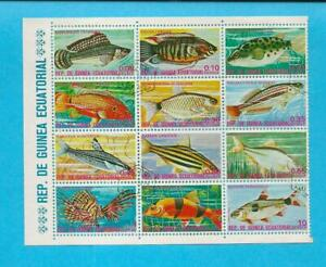 CTO EQUATORIAL GUINEA PLANTS FISH PARTIAL STAMP SET OF 12 - F30