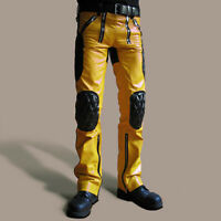 Men Real Leather Carpenter Pants Quilted & Contrast Panel MADE TO ORDER Pants