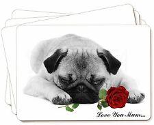 carlino (BLANCO Y NEGRO) CON ROSAS Love You Mum Imagen Manteles Individuales