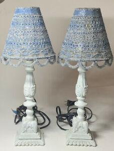 Anthropologie Set Of 2 Lamps With Beaded Shades Blue And White