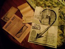 Vintage 1911 Fc Taylor fur trapping mailer with tags, invoice, etc.