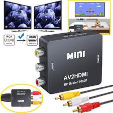 1080P Mini RCA to HDMI Converter Composite AV CVBS Video Adapter W/Audio Cable