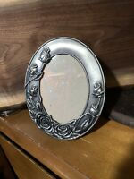 "Vintage Metal Ornate Pewter Color Roses Oval Photo Frame For 3.5"" X 5"" Picture"
