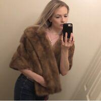 Genuine Fur Evans Furrier Vintage Wrap Stole (Mink Or Fox) Tawny Brown