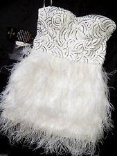 NWT Bebe white silver sequin strapless isis feather bustier top dress XS 0 2